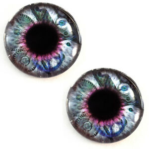 Pair of 25mm Green Steampunk Gear Glass Eyes for Jewelry or Doll Making