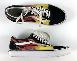 Vans-Old-Skool-Shoes-Flames-Black-Size-9-5-Mens-500714-11-Womens
