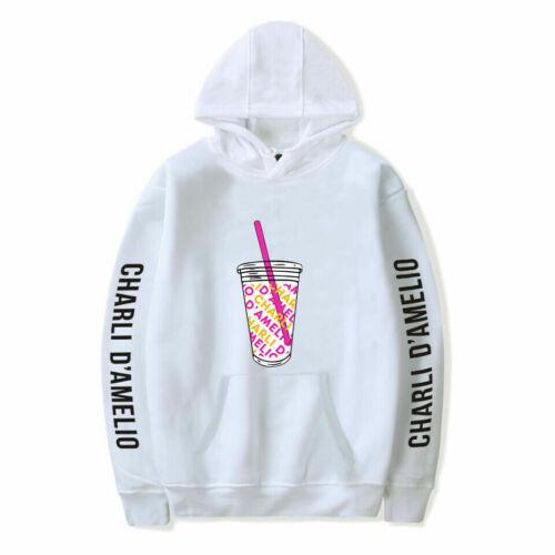 Mens Womens Casual Hoodie Charli D/'Amelio Print Tops Hooded Jumper Sweatshirt