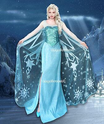 J800 Movies Frozen Snow Queen Elsa Cosplay Costume Deluxe Dress tailor made kid
