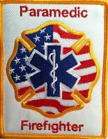 Paramedic Firefighter Logo / Emblem Iron-on Patch Gold Border