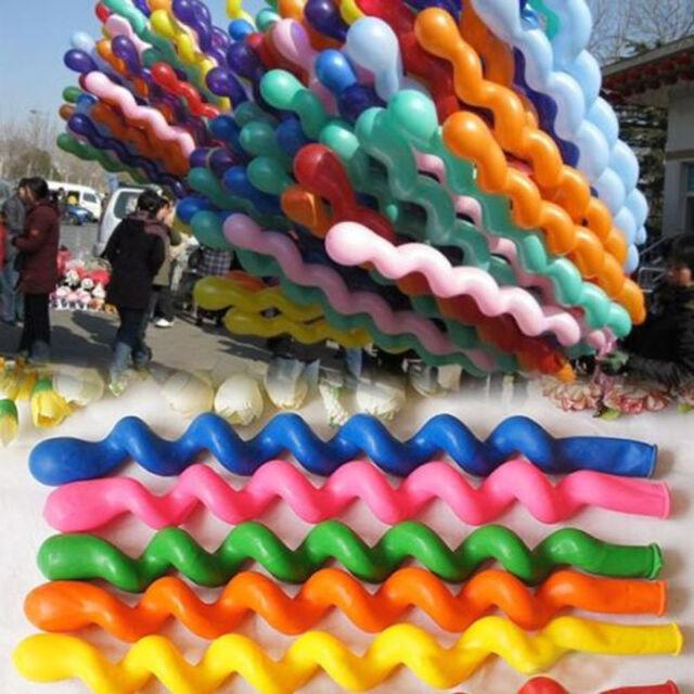 10/50/100xTwist Spiral Latex Balloons Wedding Kids Birthday Party Decor Toy Gift