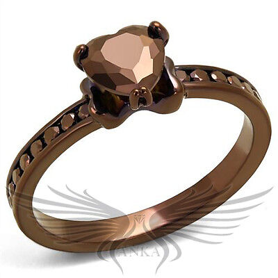 Brilliant Heart Shaped Cubic Zircon CZ AAA Coffee Ion Plated Fashion Ring 3W1191
