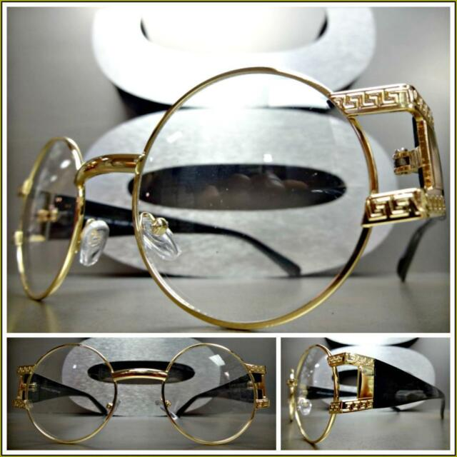 49c9d1f51e4a Mens VINTAGE RETRO Style Clear Lens EYE GLASSES Round Gold   Black Fashion  Frame