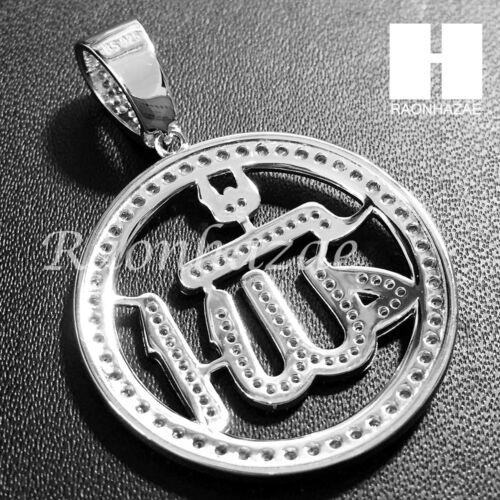 Mens Iced Out Sterling Silver .925 Lab Diamond Allah Round Pendant SS024SG