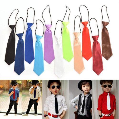 Boy Tie Kids Baby School Boy Wedding Necktie Neck Tie Elastic Solid 11 Colors BB