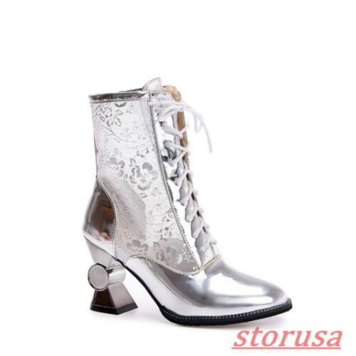 Womens Lace Up Block Heels Breathable Mesh Floral Autumn Boots Pump Shoes Size