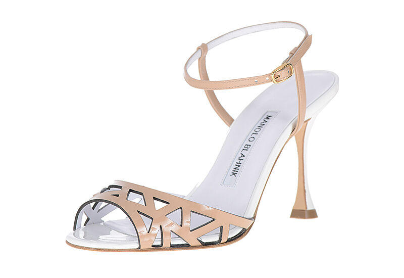 775 NEW Manolo Blahnik OLIGA Sandals Laser Cut Nude Patent Leather White 40