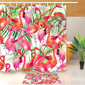 Image Is Loading Tropical Flamingo Amp Leaves Shower Curtain Set 71