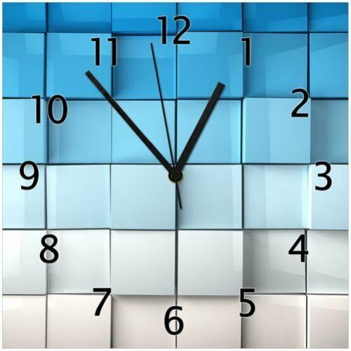 Blau-weiße Kisten schwarze Zeiger Wallario GLAS-Uhr Echtglas 30 x 30 cm