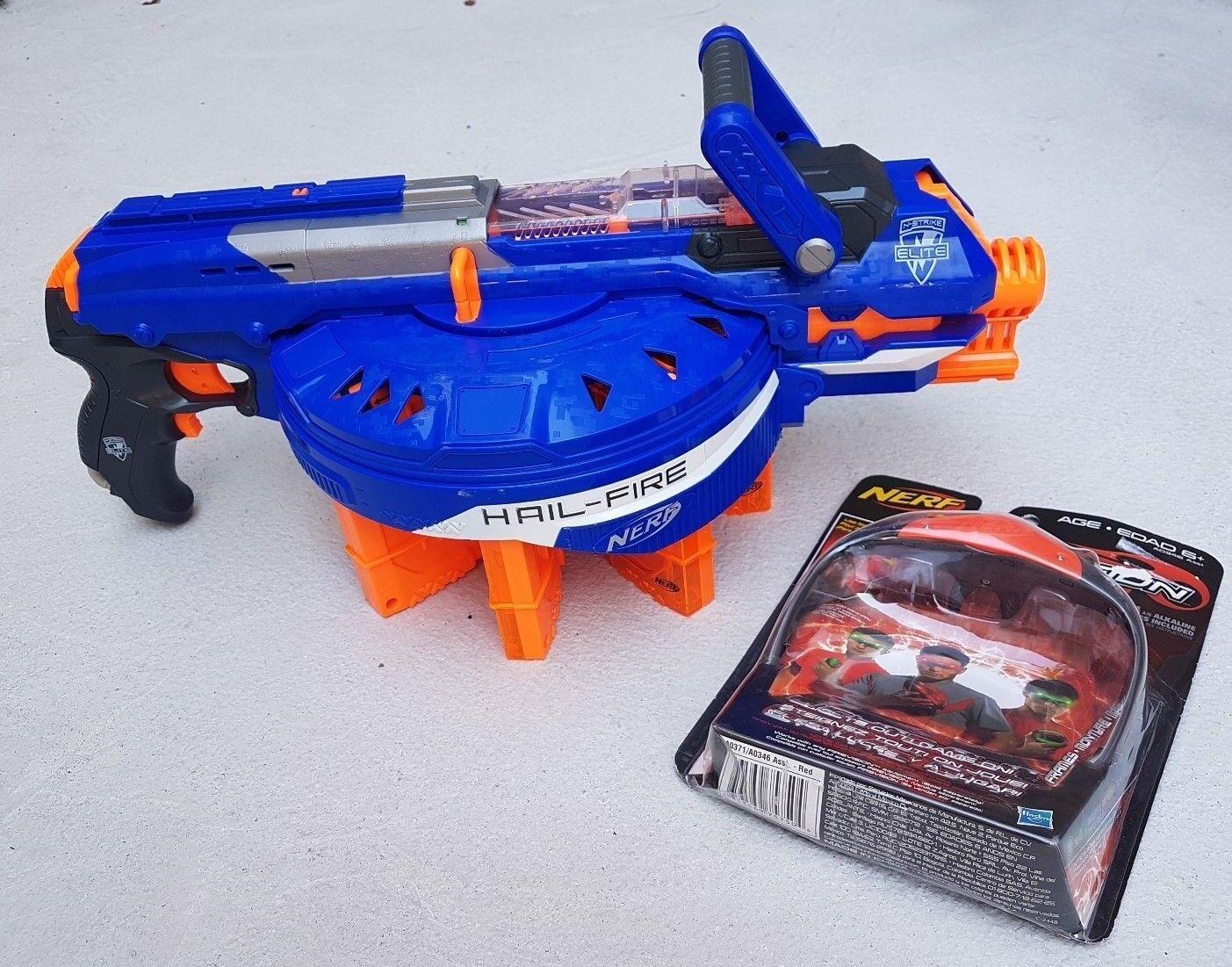NERF N-Strike Elite Hail-Fire Blaster + + + Clips + Darts + EXTRAS e79cc4