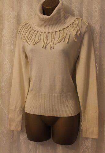 Wool Knit 42 Jumper Fringe Roll Karen Millen Uk Ivory High Neck Sweater 14 Top OagXHq0