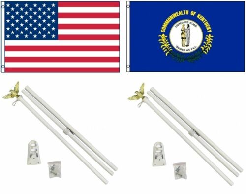 3x5 USA American /& State of Kentucky Flag /& 2 White Pole Kit Sets 3/'x5/'