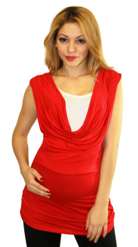 Red Maternity Sleeveless Blouse New Solid Two Tone Contrast Work Attire Business
