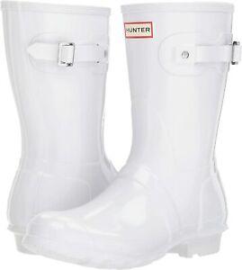 Hunter Original Short Gloss Ladies White Boots 7