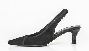 ab7e78f4329 Donald J Pliner Ela Slingbacks Womens 10 Black Suede Mid Heel Slip ...