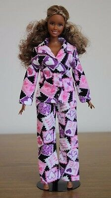 Clothes for Curvy Barbie Doll. Pink Heart flannel pajamas for Dolls.