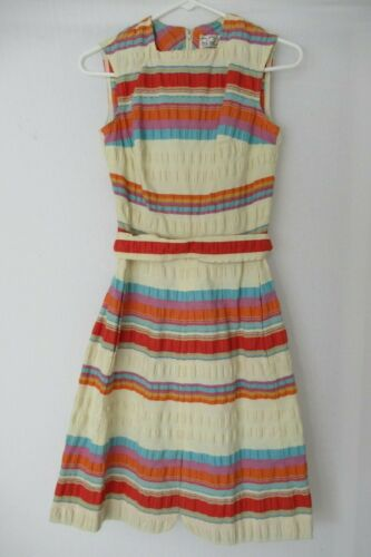 VINTAGE MEXICAN PEASANT STYLE COLORFUL STRIPED DRE