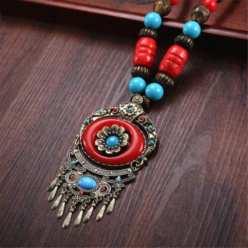 Vintage ethnique style bijoux collier long danse Pendentif Bois Perle Sweater Chaîne