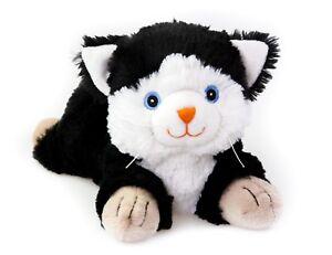 Habibi-Plush-Katze-schwarz-weiss-Waermekissen-Waermekuscheltier-Mikrowelle-Pekueba