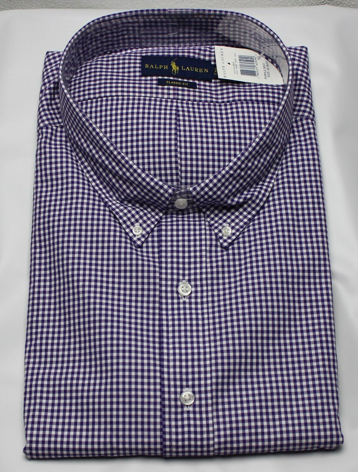 Polo Ralph Lauren Dress Shirt Mens 21 34 35 Classic Fit Purple White Green Pony