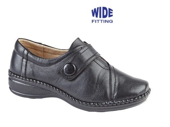 03c344f3921 Boulevard XXX Wide Fit Touch Fastening Bar Slip on Shoes Ladies UK 7   EU  40 Black PU for sale online