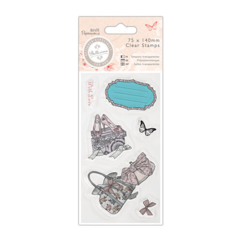 Papermania Bellisima 6 pc Clear rubber stamp set Shoes /& Bags Butterfly bow