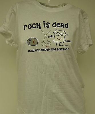 NEW Girls Juniors DAVID & GOLIATH Rock Is Dead Long Live Paper White T-Shirt