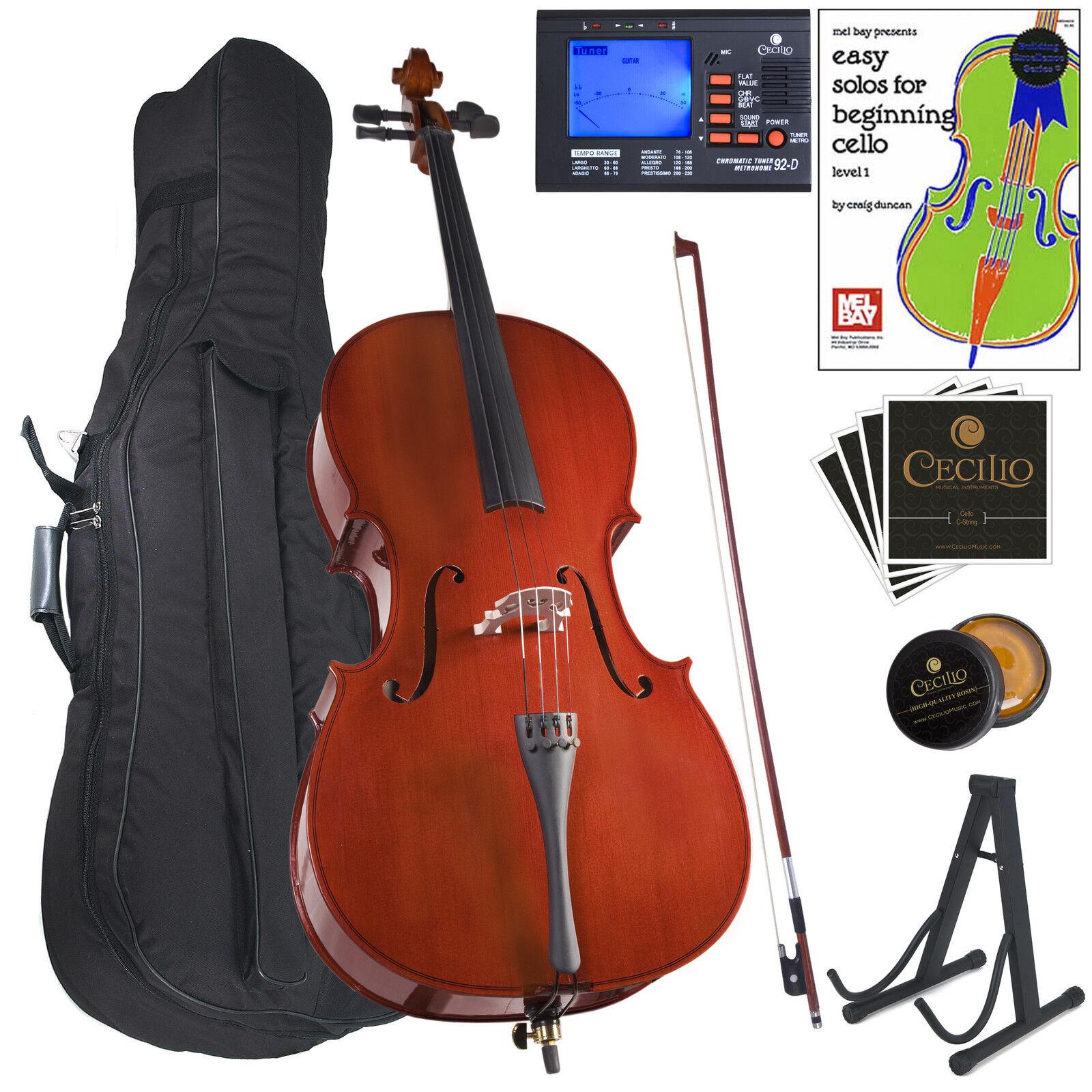Cecilio 1 4 CCO-100 Student Cello +Tuner+Stand+Lesson Book+Rosin 1 4CCO-100