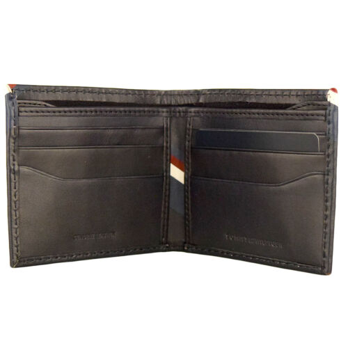 New Men/'s Tommy Hilfiger Leather Double Billfold Credit Card Wallet 31tl130012 N
