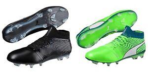 New Men s Puma ONE 18.1 FG Soccer Cleats Size 7-14 Black or Green ... cc534fd304b4d
