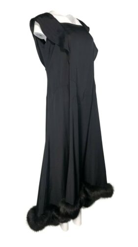 1920's Deco Style Black Fur Trimmed Sweeping Gown