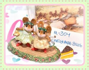 Wee-Forest-Folk-M-304-Christmas-Belles-Retired-Holiday-Mice-Yellow-Green