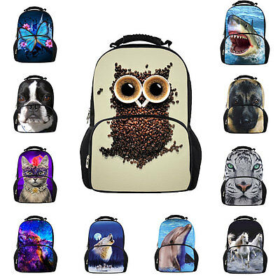 Women Girls Cat Dog Owl School Backpack Satchel Shoulder Rucksack Hiking Bags