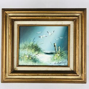 VTG-Oil-Painting-Ocean-Landscape-Sea-Shore-Seagulls-Beach-Framed-Signed