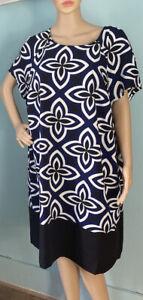 M&S Knee Length Floral Shift Dress Lined Short Sleeves U.K. Size 22 Multi BNWOT