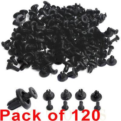 120Pcs 8mm Hole Plastic Rivets Fastener Push Clips Black for Car Auto Fender