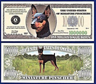 2- Doberman Pinscher Dog Dollar Bills Collectible H1 FAKE MONEY ITEM