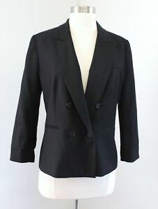 J Crew Womens Solid Black 100% Wool Double Breasted Blazer Suit Jacket Size 6