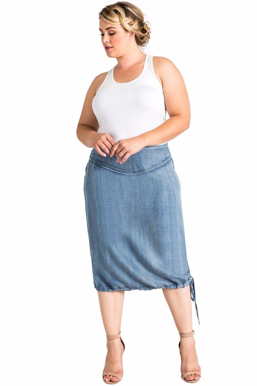 73a199ae36b Standards Standards Standards & Practices Plus Size Modern Women's Denim  Tencel Adjustable Hem Skirt 817f32
