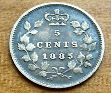 1885 Canada 5 Cent Silver Coin