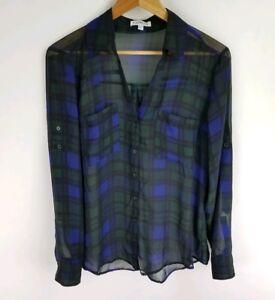 Express-The-Portofino-Shirt-Size-Medium-Sheer-Green-Blue-Plaid-LS-Rolltab