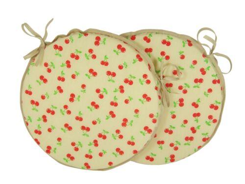 "Set of 2 Cherries Natural 12/"" 14/"" 16/"" Bistro//Bar//Circular//Patio//Round Seat Pads"