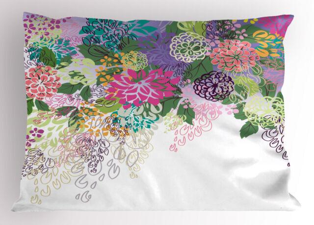 Flower Pillow Sham Vintage Boho Inspiration Printed Pillowcase 30 x 20 Inches