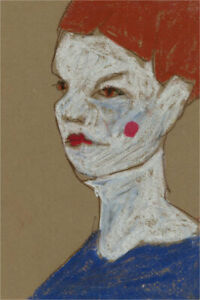 Ben Carrivick - Contemporary Pastel, Figure with Red Lips and Rosy Cheeks