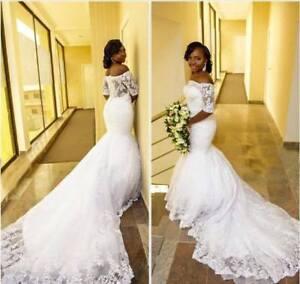 Mermaid with long train wedding dress
