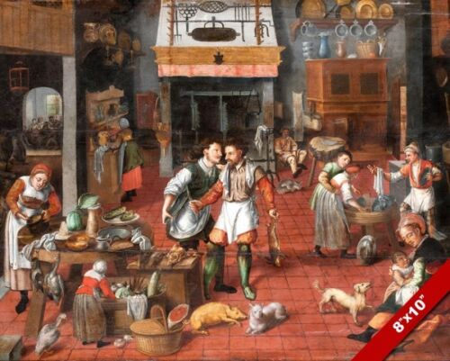 EUROPEAN KITCHEN OF THE RENAISSANCE 1500'S ERA PAINTING ART REAL CANVAS PRINT