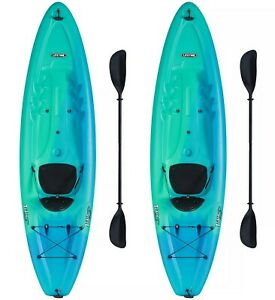 Two One Person 10' Plastic Kayaks Sit on Top with Paddles Lifetime 2 Pack