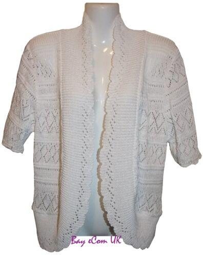 New Ladies Crochet Knitted Shrug Bolero Sweater Top UK Plus Size 16 to 32