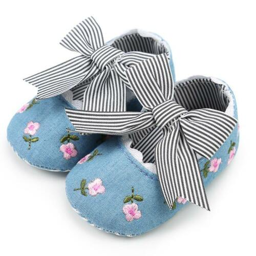 Cute Baby Girl Embroidery Flower Toddler Soft First Walkers Crib Shoes Sneakers
